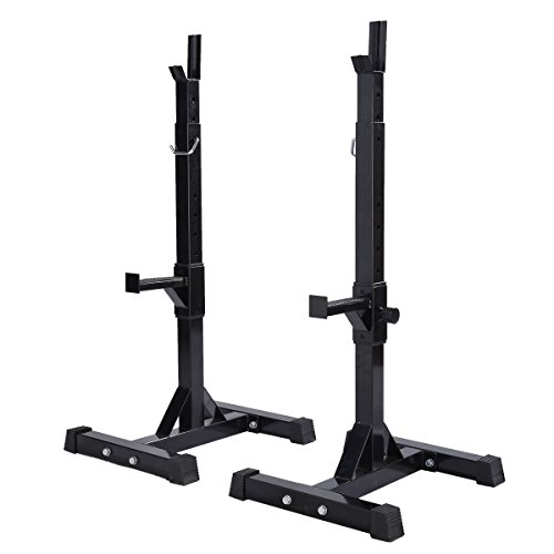 Giantex Pair of Adjustable Standard Solid Steel Squat Stands Barbell Free Press Bench