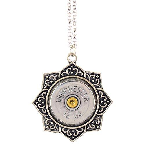 - Little Black Gun Indian Lotus 20 Gauge Shotgun Shell Pendant Necklace, Silvertone Finish