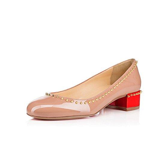 Arc-en-Ciel zapatos de charol punta redonda remache pisos bajos talón de las mujeres Negro
