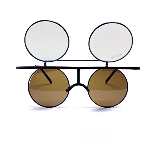 GloFX Flip Diffraction Glasses – Matte Black Round Vintage Orange Mirror