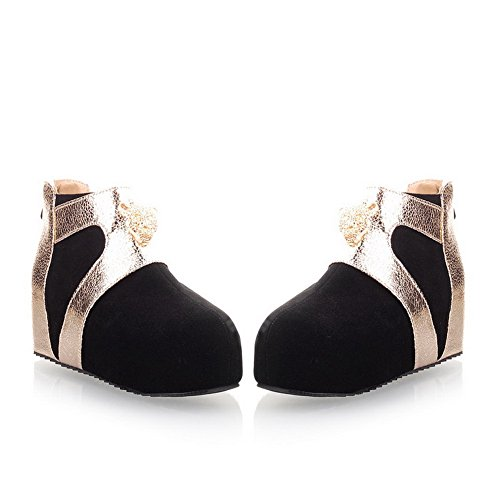 Black PU Frosted B Metalornament 8 Kitten US with AmoonyFashion Round Heels Toe M Boots Closed Womens Assorted Colors Ypx0wq1g