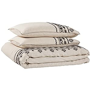 Rivet Global Embroidered Linen Duvet Cover Set , Full/Queen, Black