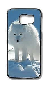 Samsung Galaxy S6 Edge Customized Unique Hard Black Case White Fox Case S6 Edge Cover PC Case