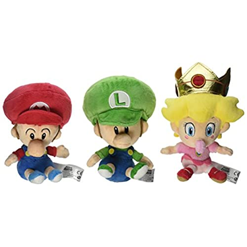 little buddy super mario bros plush set of 3 baby mario baby luigi baby peach