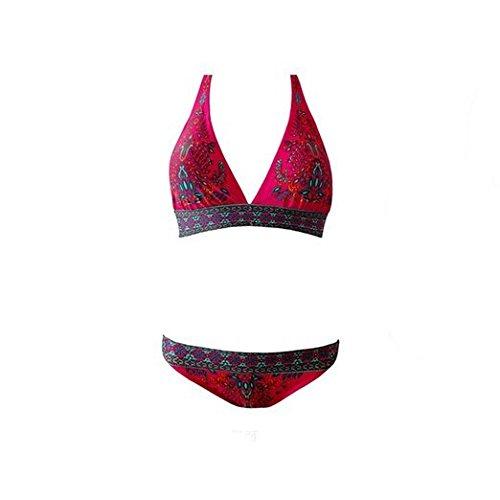 Embryform floral de las mujeres de la vendimia de impresión Totem empuja hacia arriba atractivo de baño bikini Rojo