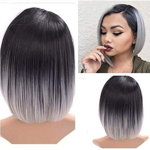 Short Straight Wigs Synthetic Human Hair Full Wigs For Women Gradient Natural Wig Anime Hairpiece Weisun (36cm, Multicolor)