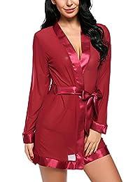 Avidlove Women Lace Kimono Robe Sexy Lingerie Satin Sleepwear Mesh Babydolls