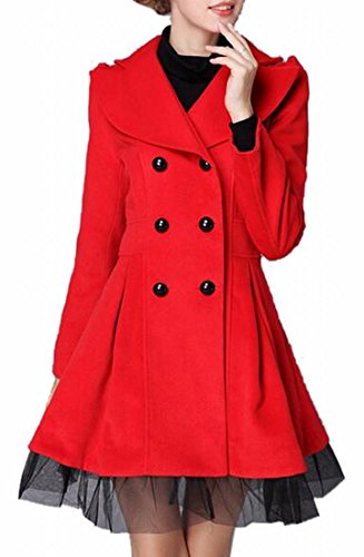 ONTBYB Womens Double-breasted Long Sleeve Swing Trench Coat M Red