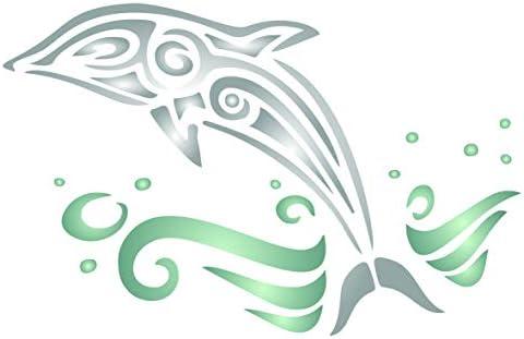 イルカステンシル - 再利用可能な動物魚 海のクジラ 壁ステンシルテンプレート - ペーパープロジェクト、スクラップブック、ジャーナル、壁、床、ファブリック、家具、ガラス、木材などに使用。 S SB2758S