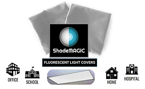 ShadeMAGIC Fluorescent Light Covers for Classroom or Office - Light Filter Pack of (2); Eliminate Harsh Glare That Causing Eyestrain and Head Strain. Office & Classroom Decorations. Light Diffusers ()