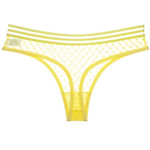 Mbtaua Fashion Women Underpant Sexy Interest Transparent Mesh Low Waist Traceless Thong Yellow