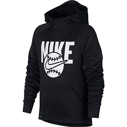 (NIKE Boy's Baseball Pullover Hoodie (Black, Large))