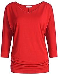 Women's V-Neck Dolman Top 3/4 Sleeve Drape Shirt