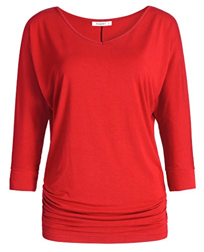 (Esenchel Women's V-Neck Dolman Top 3/4 Sleeve Drape Shirt M Red)