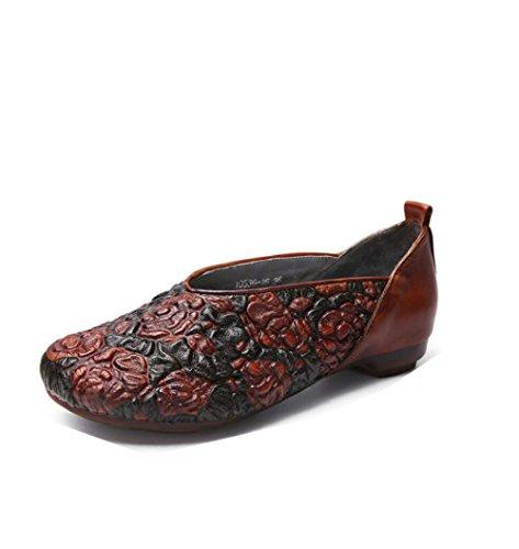 XING Chaussures Populaires pour Décontractées Talons Artisanales Chaussures Gaufré Bas Chaussures GUANG Brown Cuir Femmes 37 à Nouvelles Style à Brown National Pied Un Vintage 35 0ErY0twq