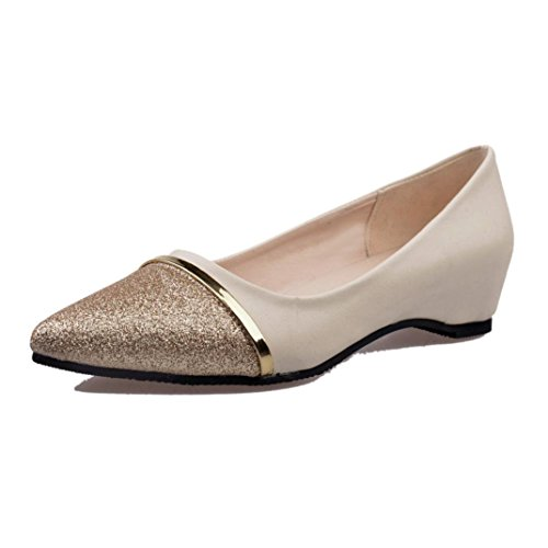 Women's Classic Pointy Toe Flat Shoes,Casual Leather Loafers for Party Work Business (Beige, US:6.5)