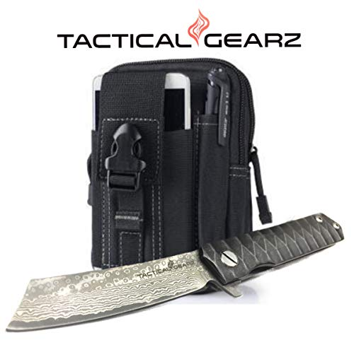 - TG Rogue X, Real Damascus! Black Titanium (TiN) Stainless Steel EDC Folding Pocket Knife w/Sheath! Ball Bearing Pivot System! Razor Sharp Damascus Blade! (XS Bundle)