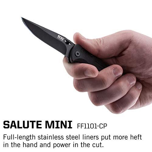 SOG Folding Knife Pocket Knife – Salute Mini Tactical Knife & Lock Pocket Knife w/ 3.1 Inch Black Knife Blade and EDC Survival Knife Clip (FF1101-CP) by SOG (Image #6)