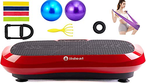 lldeal Ultra Thin Third Generation Vibration Plate Exercise Machine -(Tensile Device, w/Loop Band, Two Yoga Ball, Muscle…