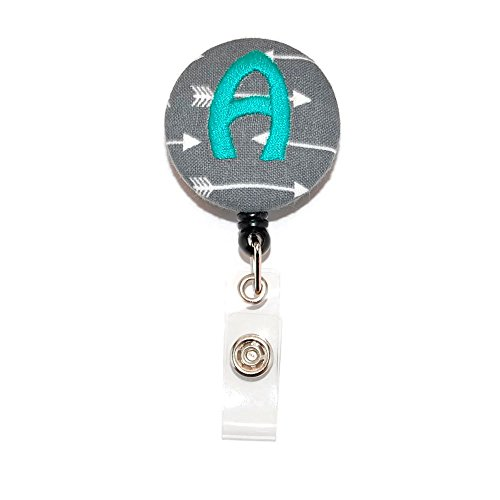 Grey Arrow with Mint Your Choice of Letter Badge Reel Retractable for ID or Key Card Free Shipping ()