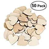 OULII Blank Heart Wood Slices Discs Wedding Christmas Ornaments, Pack of 50, 40mm