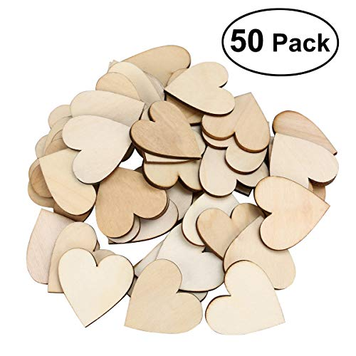 OULII Blank Heart Wood Slices Discs Wedding Christmas Ornaments, Pack of 50, 40mm (Box Rosewood Memory)