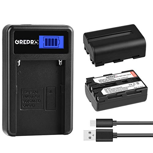 Grepro NP-FM500H Battery (2 Packs) and LCD USB Charger Kit for Sony A57, A58, A65, A77, A99, A200, A350, A450, A550, A560, A700, A580, A900