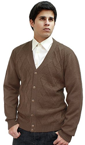 (Mens Soft Alpaca Wool Knitted V Neck Golf Cardigan Sweater Button Down Diamond Design (M, Camel))
