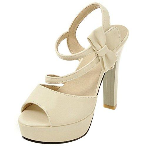 93f62e35 COOLCEPT Mujer Moda Al Tobillo Sandalias Peep Toe Tacon Ancho Plataforma  Velcro Zapatos With bowknot Beige