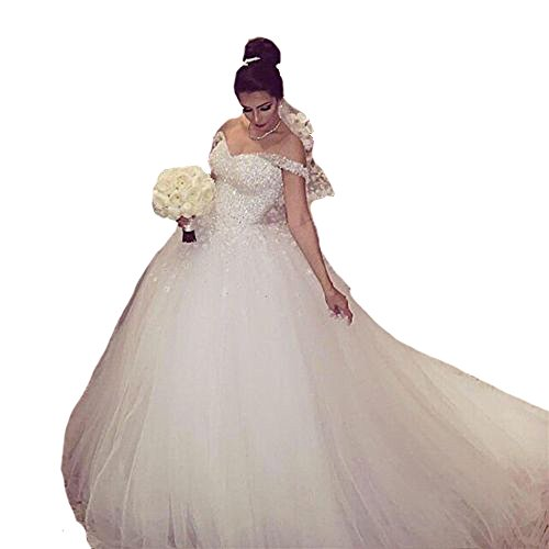 QueenBridal Muslim Bridal Gowns Short Sleeve Beaded Tulle Ball Wedding Dress