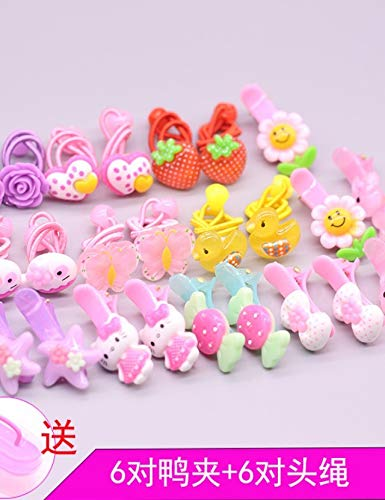children girl princess headdress hairpin hair pin comb claw baby does not hurt hair tie hair rubber band head flower jewelry tousheng little girl ponytail holder (six pairs of duckbill clip tousheng + -