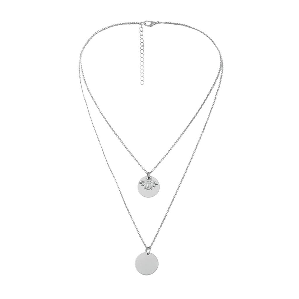 FRCOLT Trendy Jewelry Copper Choker Multi Layer Necklace Gift For Women Boho Pendent (Silver, alloy)