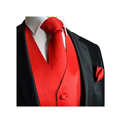 (Brand Q 3pc Men's Tuxedo Vest,Neck Tie,Pocket Square Set for Suit or Tuxedo (M, Red) )