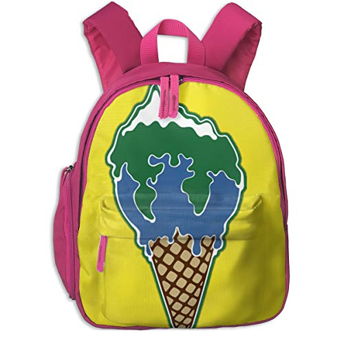 Melting Earth Ice Cream Toddler Backpack School Bag With Pocket For Boys/Girls
