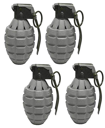 Army Grenade - Toy Essentials Gray Pineapple Hand Grenades with Sound Effects - 4 Pack