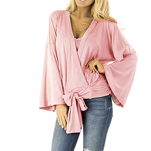 Aniywn Women's Pure Color Flare Sleeve Spring T-Shirt Ladies Hem Bow Long Sleeves Blouse Tops Pink