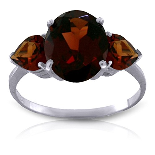 Galaxy Gold 4.1 CTW 14k Solid White Gold Ring with Natural Garnets - Size - Ring Garnet Gold Natural 14k