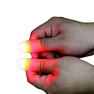 Eforoutdoor 4 Pack Magic Tricks LED Finger Lamp Thumbs Light Magic Light up Finger Fake Finger 2 Pcs Magic Tricks Accessories Scarf Penetrate Phone Tricks Magic Funny Silk trick toys Magic Show