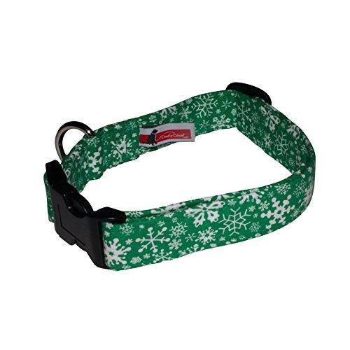 Elmo's Closet Snowstorm Dog Collar - Green (Large)