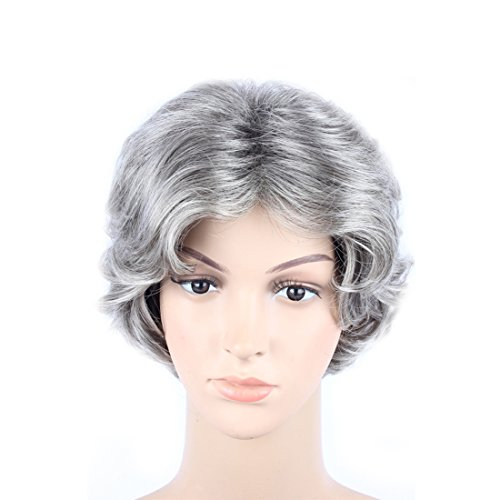 Old Lady Hair Costume (WeKen Women's Cosplay Wig Short Curly Synthetic Hair Silver Gray)