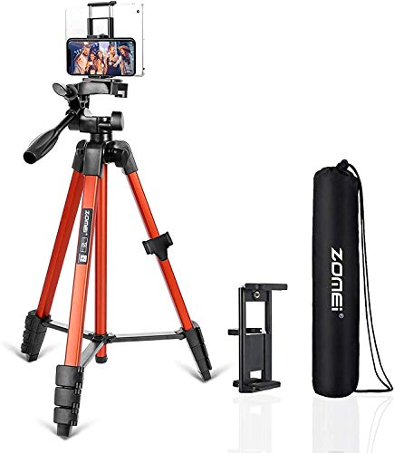 Phone Tripod, T90 53-Inch Video Tripod, Lightweight Camera Tripod with Bag, 3-Way Swivel Pan Head, Phone Holder and Remote Shutter, Compatible with Ring Light Cameras and Smartphones (Orange)