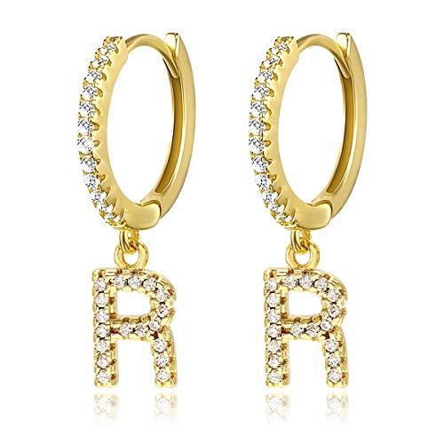 Pendientes de aro con inicial A-Z para mujer, chapados en oro blanco de 14 quilates, circonita cúbica, personalizados…
