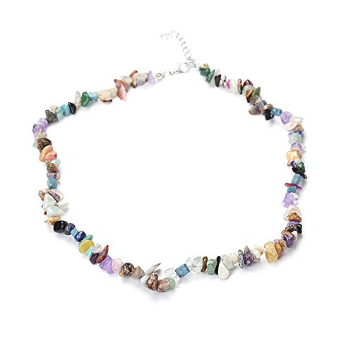 KASIDN Women Necklace Natural Handmade Colorful Stone Choker Necklace Sweater Chain Necklace Jewelry for Women Girls Gift ()