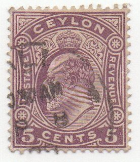 Ceylon Postage Stamp Single 1908 King Edward VII Issue 5 Cent Scott ()