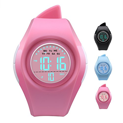 Kids Watch Waterproof Children Electronic Watch - Lighting Watch 50M Waterproof for Outdoor Sports,LED Digital Stopwatch with Chronograph, Alarm,Time Window Child Wrist Watch for Boys, Girls (Pink) - Alarm Chronograph Watch