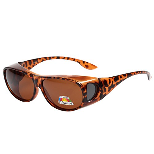 LIANSAN Polarized Fit Over Sunglasses for Myopic Lens Womens Mens Designer Fashion Classic Leopard LSPZ3303