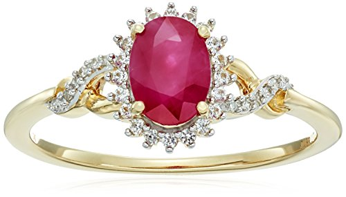 10k Yellow Gold Genuine Burmese Ruby Oval with Genuine White Sapphire and White Diamond Accent Twisted Fashion Ring, Size 7 Burmese Ruby