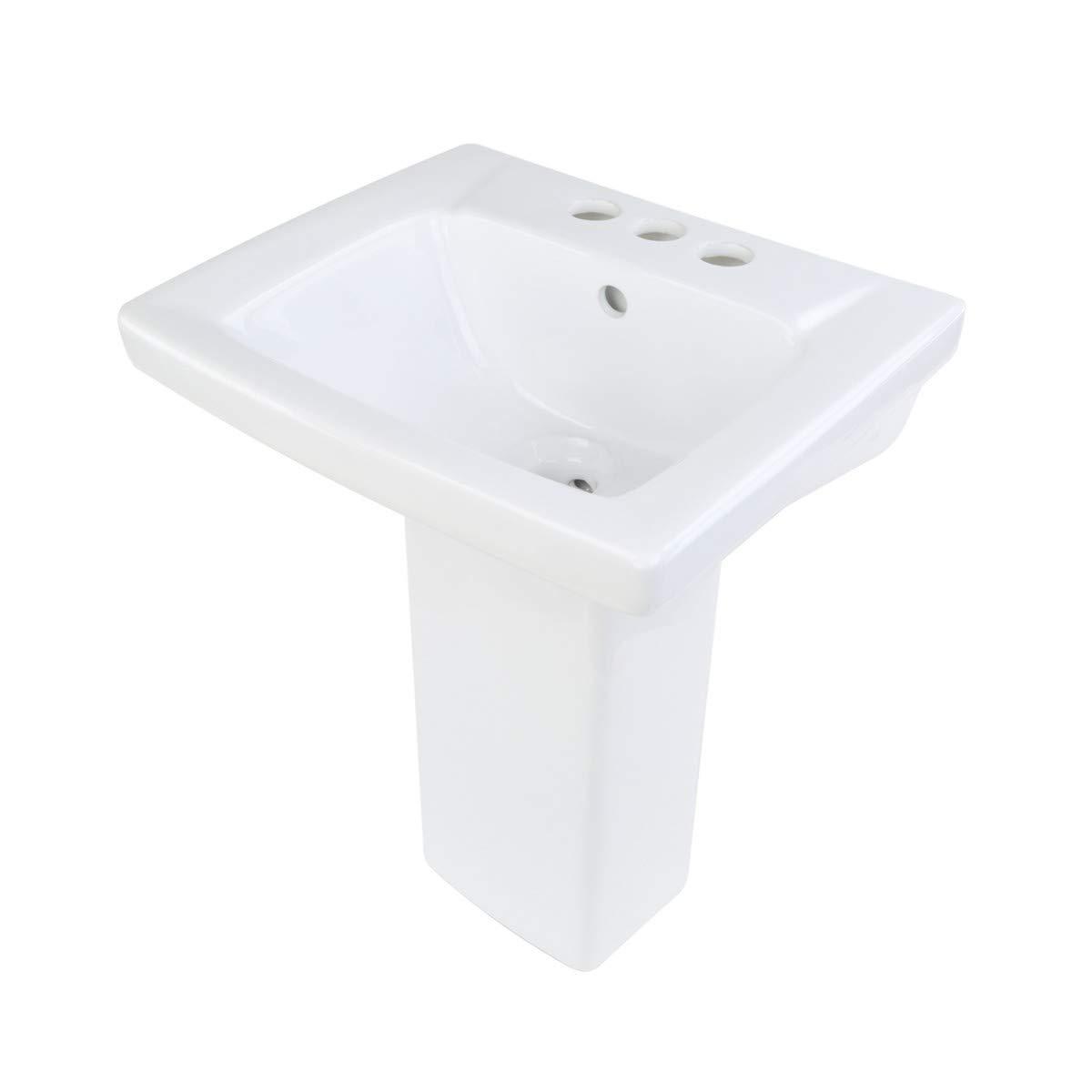 "Children's White Pedestal Sink Vitreous China""WeeWash"" 4"" Centerset Open Back Scratch Stain Resist"