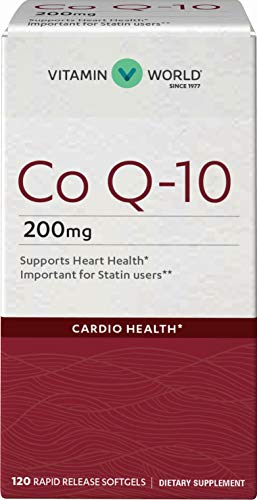 Vitamin World Co Q-10 200 mg. 120 Softgels, Heart Health, Cardio Support, Rapid-Release, Gluten-Free