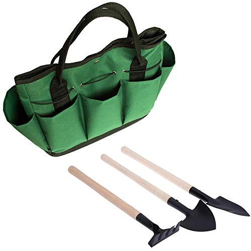 Ginode 3pcs Mini Garden Plant Tool Gardening Tool Shovel Rake + Gardening Tools Organizer Tote, Plant Potted Flower Gadget Wooden Handles for Transplanting Seedlings by Ginode